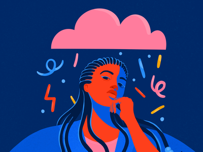 Happy thoughts thoughts positivity positive editorial art editorial illustration colorful powerful black women black woman editorial creative illustration