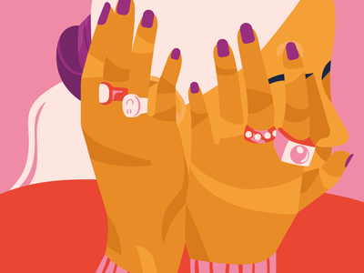 Overthinking fashion illustration editorial design female character positivity pink illustration female illustration editorial illustration editorial illustration