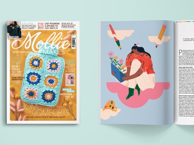 Illustration for Mollie Makes magazine female character workspace cloud dreaming positivity creative editorial illustration editorial illustration