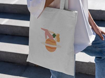 Tote bag retro zodiac mercury tote bag astrology saturn female character fashion illustration editorial creative illustration