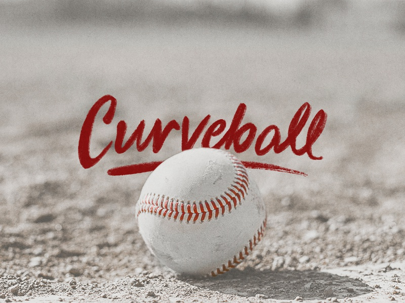 Curveball hand drawn gritty black and white red dirt sand diamond baseball