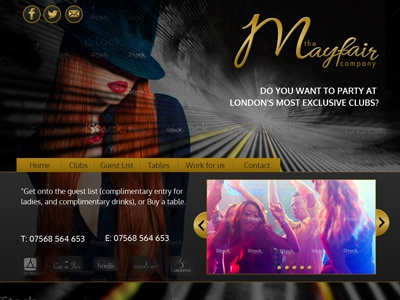 Nightclub Events Company website events responsive