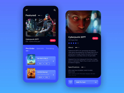 Game Store App doom modern platform mobile app store marketplace iphone ios cyberpunk 2077 xbox ps4 origin steam game gaming design dark ux ui