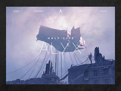 Half-Life: Alyx website sketchapp parralax aftereffects animation steam video store product landingpage valve game dark alyx half-life design web ux ui