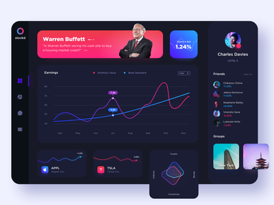 Stock Portfolio Tracker | Dark Mode graph chart diagram shares dashboard website investment crypto exchange colourful portfolio stocks trading lumo app product dark ux ui design