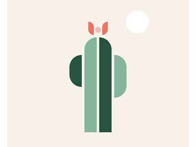 Prickly minimal simple geometric shape cactus