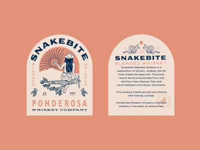 Whiskey Label Design brand design label wild women snake new mexico southwest branding logo illustraion label design