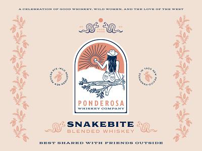 Ponderosa Whiskey Company label design whiskey new mexico southwest snakes wild women illustration logo branding vector