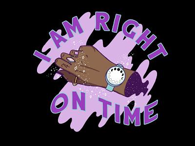 Right on Time lettering typography trust hands moon stars digital art illustrator vector illustration
