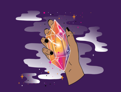 Beauty in the Facets | Crystal Hand Illustration crystal witchy lines illustrator illustration design