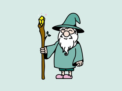 Wizard lines design logo vector illustration whimsical playful wizard