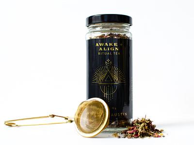 Tea Label Design black and gold botanicals tea label design branding illustration packaging