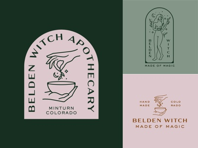 Belden Witch Apothecary Design female character female woman witch hands design lines vector branding logo illustration