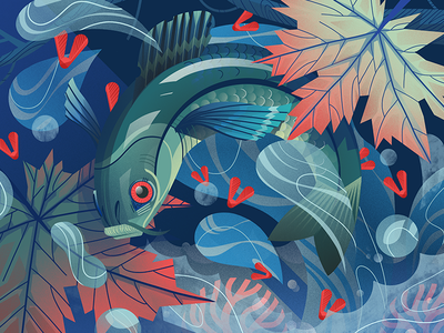 Trout and maple dudzik iza dewizka fish illustration