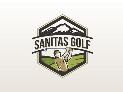 Sanitas golf sport logo golfing mountain sanitas player golf