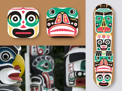 Totem Pole Skateboard aborigin shaman culture traditional sacred deck design deck totem pole skateboard totem