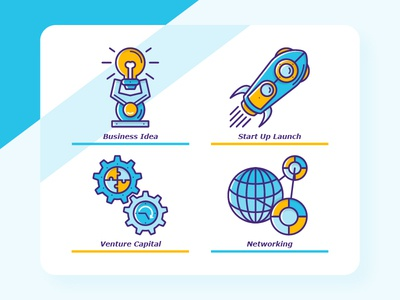Start Up Icons Illustration capital venture networking venture capital start up launch business idea start up icon