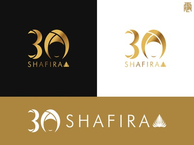 Shafira 30th Anniversary Logo Concept islam gold black black gold moslem wear moslem brand three 0 3 30 logo
