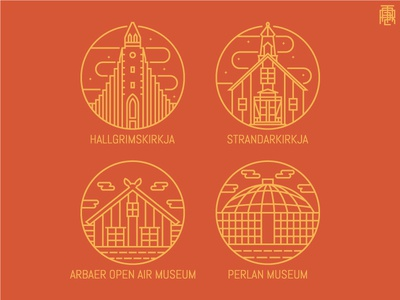 Iceland Landmark Monoline viking europe outline badge thin lineart line brown museum curch iceland monoline