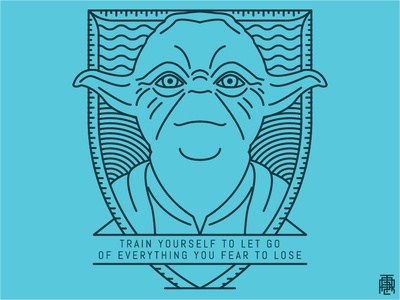 Yoda Monoline darth force jedi thin outline monoline lineart line blue badge yoda star wars