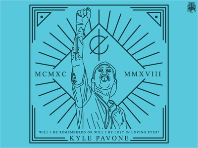 Kyle Pavone Monoline thin outline monoline lineart line kyle pavone metalcore metal band we came as romans blue badge