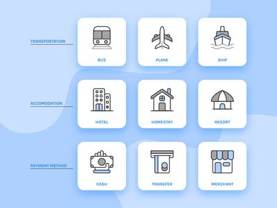 Travel Icon Pack merchant transfer cash resort homestay hotel ship plane bus blue icon travel