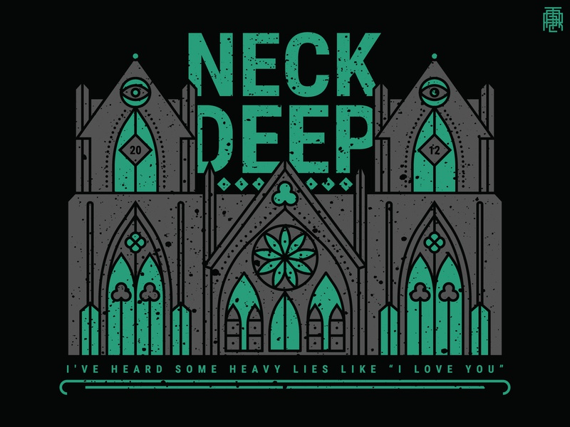 Neck Deep - Heavy Lies emo tattoo pop punk blue cathedral neck deep tshirt design thin outline monoline lineart line