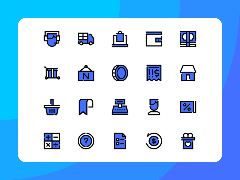 E-Commerce Icon Pack art app button device label system icon icon set icon pack iconography identity mark icon e-commerce