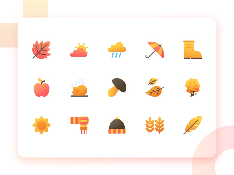 Autumn Icon Pack identity mark iconography icon pack icon set system icon label device button app art icon autumn