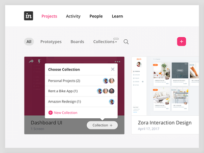 Invision Redesign with Collections Feature Concept