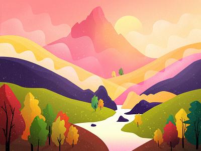 Landscape beautiful air fresh tree mountain sun color illustration morning landscape
