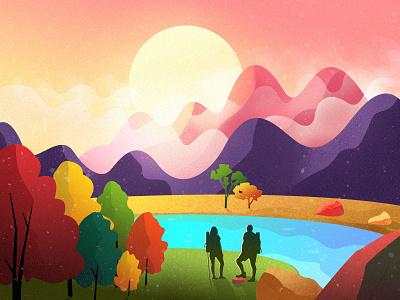 Illustrations tree sun mountain morning landscape illustration color beautiful lovers travel hike