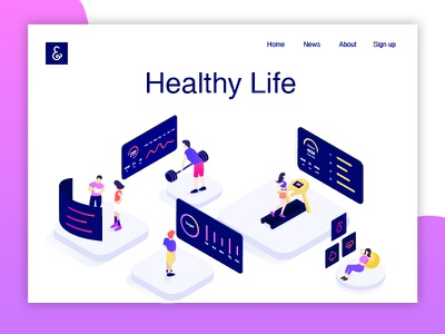 Healthy Life color life healthy fitness isometric illustration infographic data collaboration character 3d