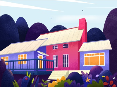 Back to nature air. color animals fresh silence life trees flowers illustration nature house