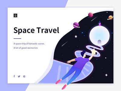 Space travel web ux ui illustrations memories dreams lovers stars travel space app