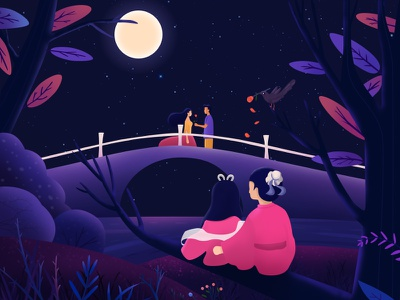Tanabata illustration moonlight trees roses romance stars blessing confession weaver girl cowherd lovers illustrations tanabata