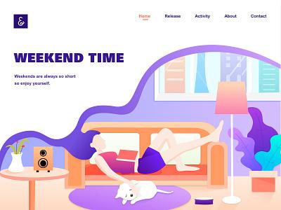 Weekend Time clean reading sleep favorite dog time weekend travel color illustration