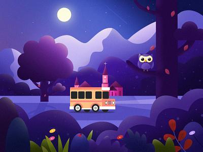 Under the moonlight bird tree car quiet moonlight clean landscape travel color illustration
