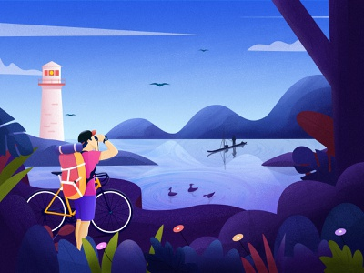 On the journey christmas tree riding mountain clean color flower landscape travel illustration
