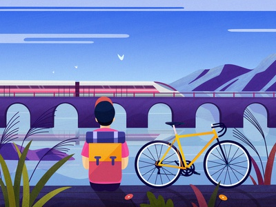 Cycling scenery cycling train bridge flower mountain tree landscape color travel illustration