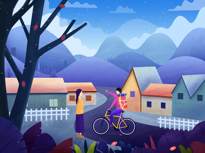 Cycling trip snow house flower cycling mountain tree landscape color travel illustration