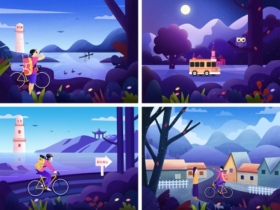 My Top4 bicycle travel top 4 color clean flower tree mountain landscape illustration