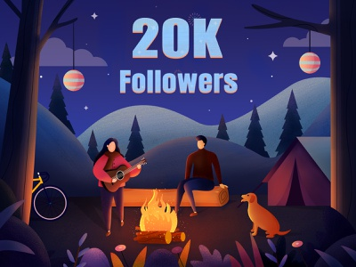 20k Followers dog congratulation team bb followers mountain tree landscape travel illustration
