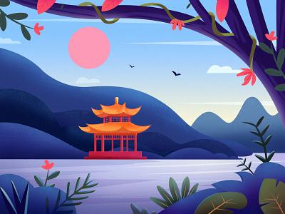 Landscape Illustration sunset cloud color flower mountain clean tree landscape travel illustration