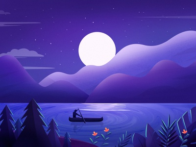 Landscape Illustration flower stars moon boat tree mountain travel landscape color illustration
