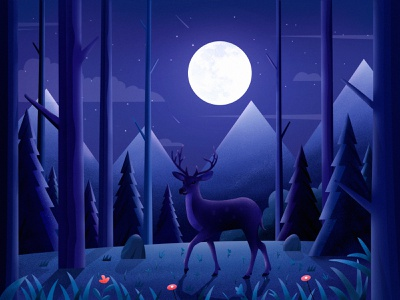 Elk in moonlight nature elk night moon flower mountain tree landscape travel illustration