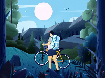 Cycling Scenery flower mobile mountain tree landscape travel color illustration