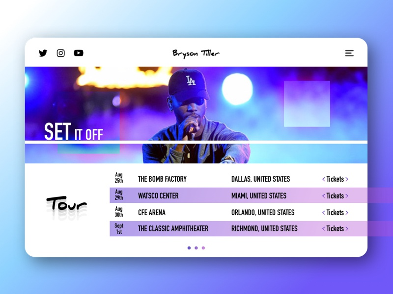 Set It Off design bryson tiller landing page branding ui
