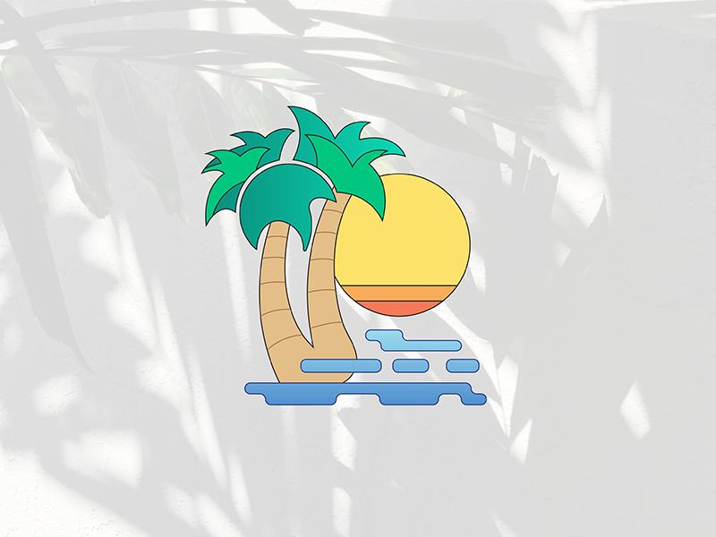 Island Vibes palmtree island hawaii illustration design graphics