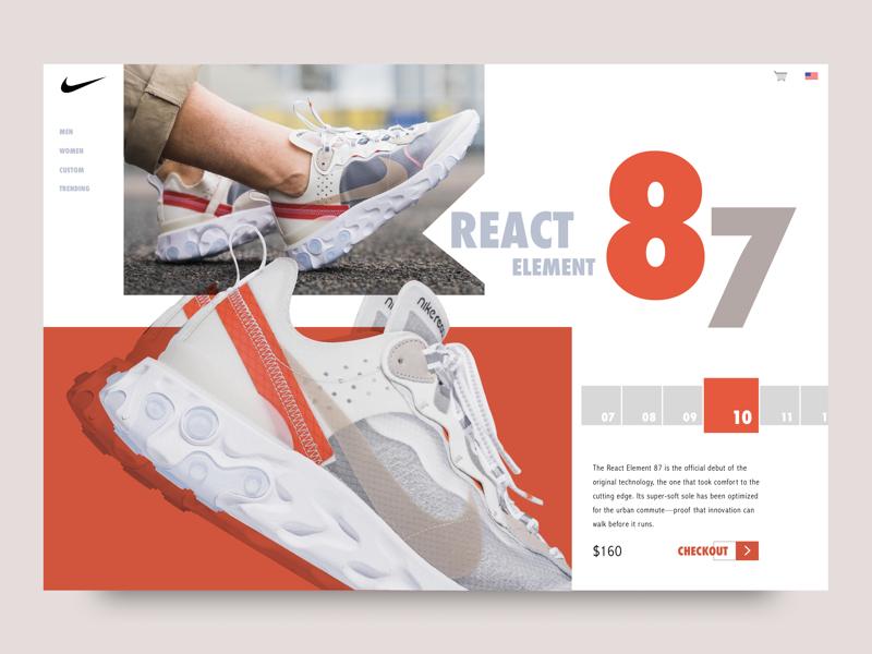 Nike React Element 87' launch landingpage webdesign nike illustration design graphics